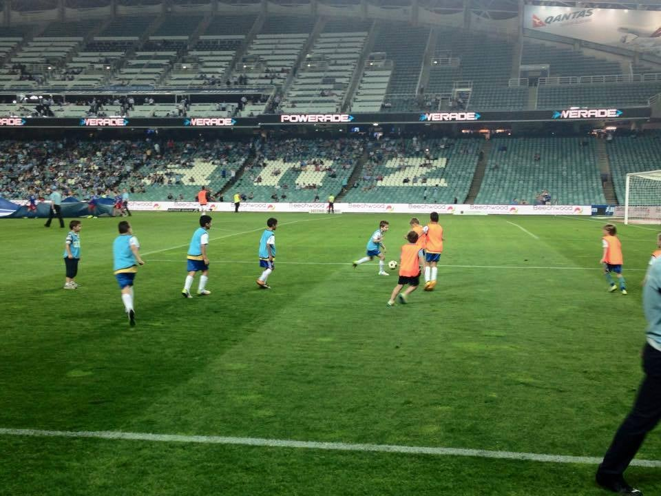 SEEFC JUNIORS REPRESENTING THE CLUB AT A SYDNEY FC GAME