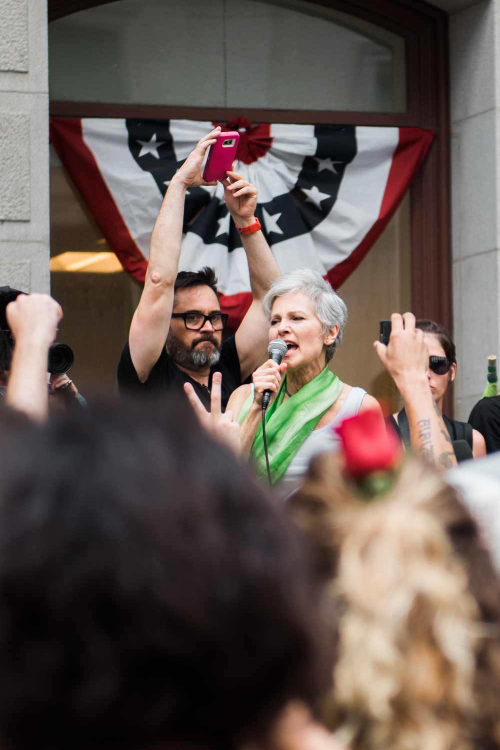 "Green Party presidential candidate Jill Stein speaks at on how both the GOP and Democrats have left behind so many after the Republican National Convention and #DNCleak during the ""March of Our Lives"" rally on July 25, 2016 in Philadelphia, PA."
