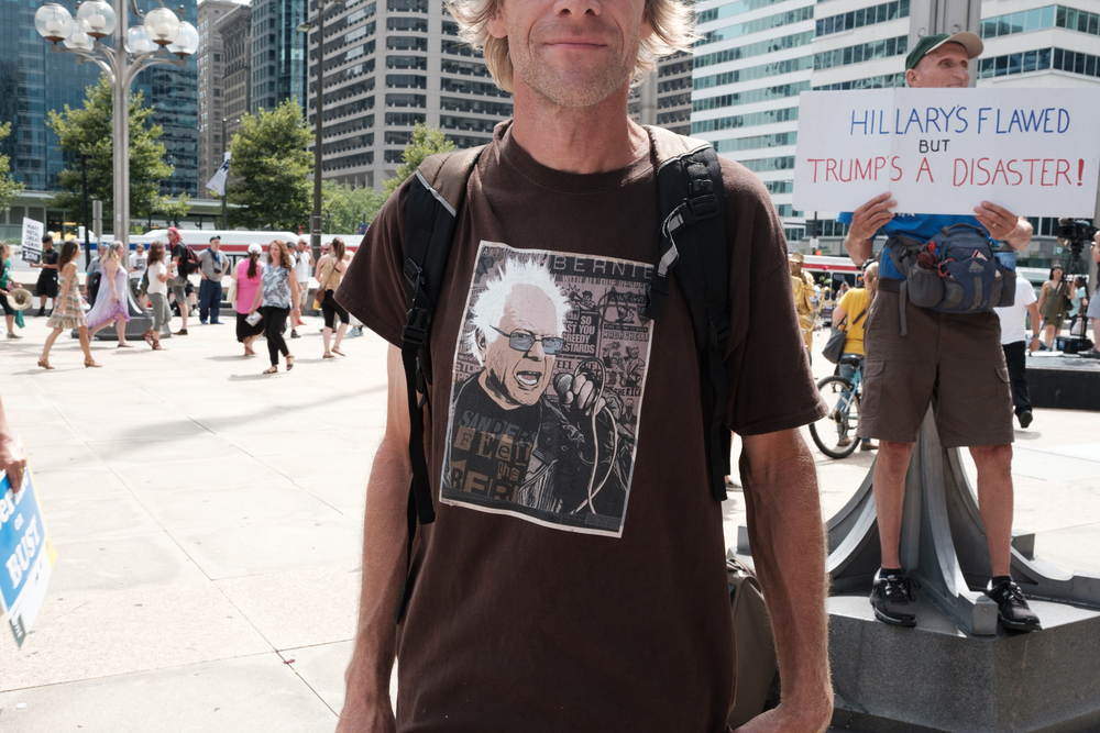 A little more than one hundred Bernie Sanders supporters showed up for the #BernieorBust rally. Here is a shirt from one of Bernie's supporters.