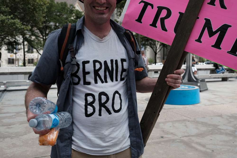 Bernie Bros don't have a great image - often being called misogynistic in the media. This Bernie Bro picked up after himself and his friends at the end of the #bernieorbust rally.