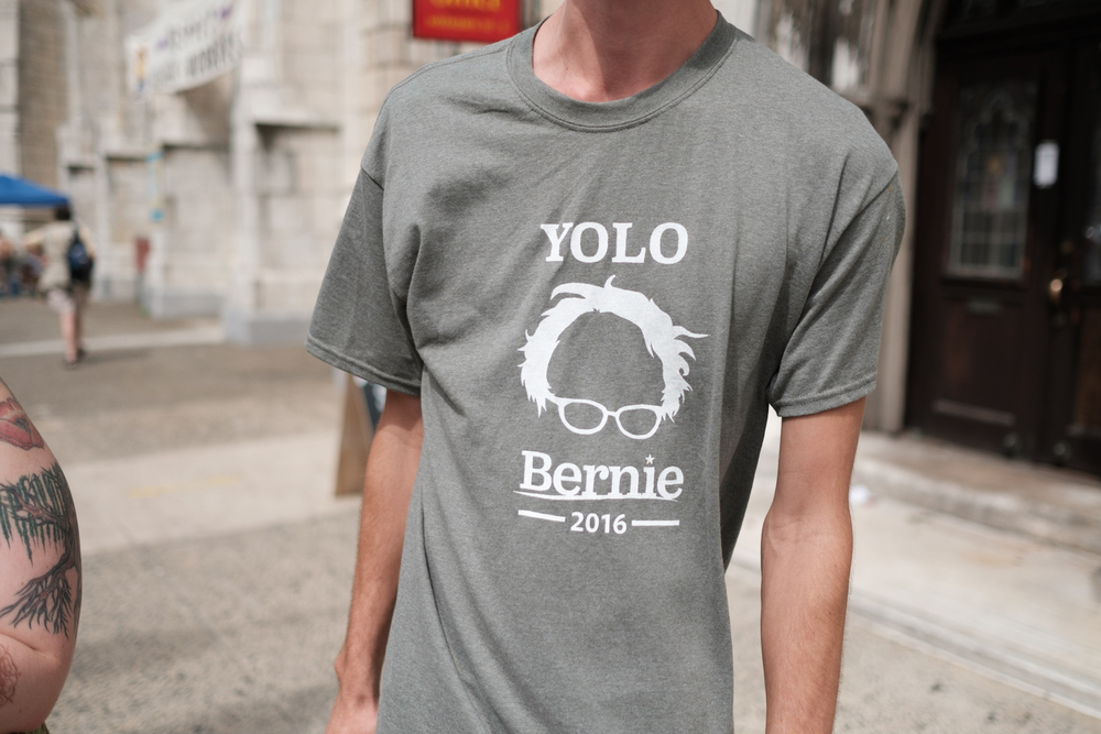 These shirts were made by this Bernie supporter who came all the way from Yolo County, CA. I love a good pun.