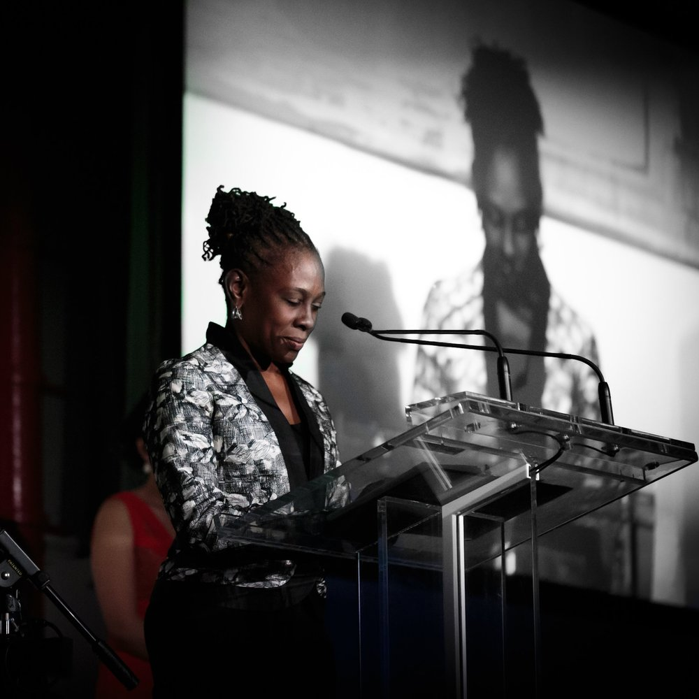 Chirlane McCray leads attendees of Korean Community Services of Metropolitan New York, Inc. (KCS)'s 42nd Anniversary Gala through a moment of silent for victims of the Paris attacks on November 13. Photo by Daniel Lee (http://danleephoto.com).