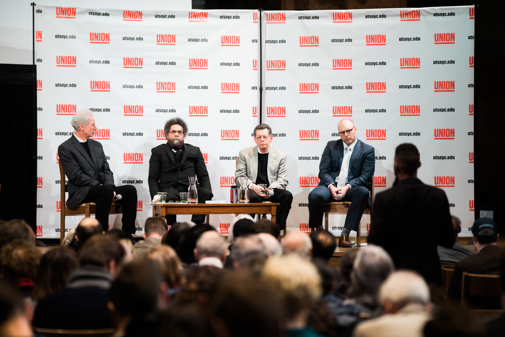 A panel of speakers for Union Theological Seminary's Faith in America series listens to a question from the audience. Photo by Daniel Lee.