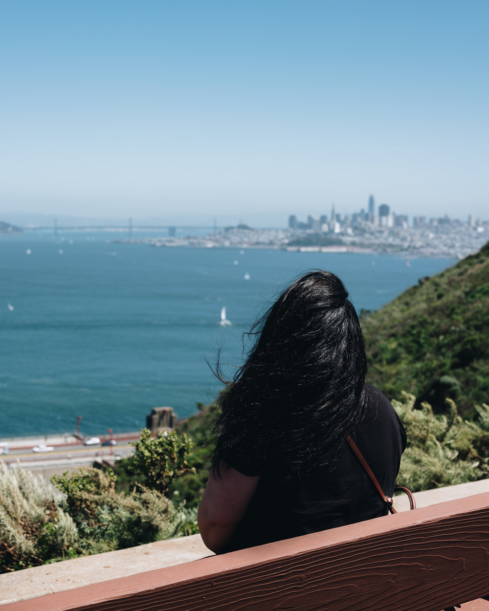 Bora enjoying a view of San Francisco from Battery Spencer. Photo by Daniel Lee.