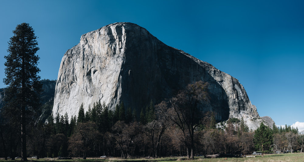 A stitched panorama of over 25 50-MP images of El Capitan in Yosemite National Park. Photo by Daniel Lee.