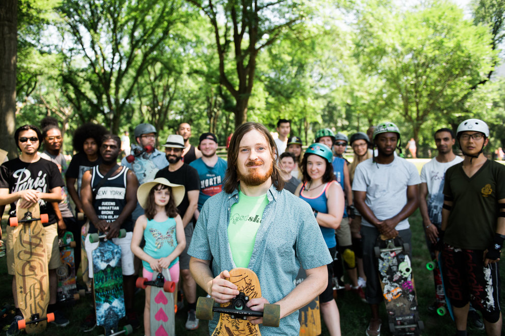 Stuart Anderson, organizer of  Ghostskate NYC , with his community of longboarders and skateboarders.