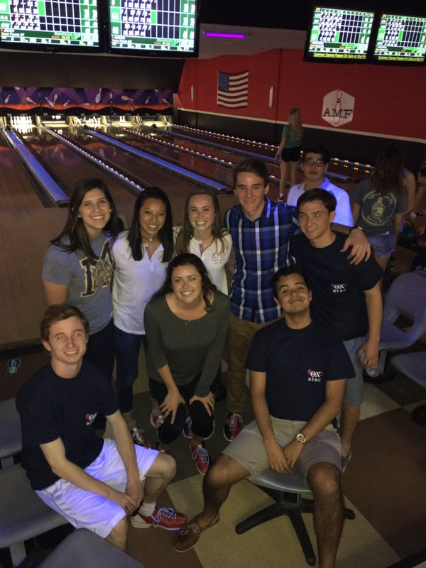 Theta Chi's and Kappa Alpha Theta's teaming up at Bowling For Breast Cancer