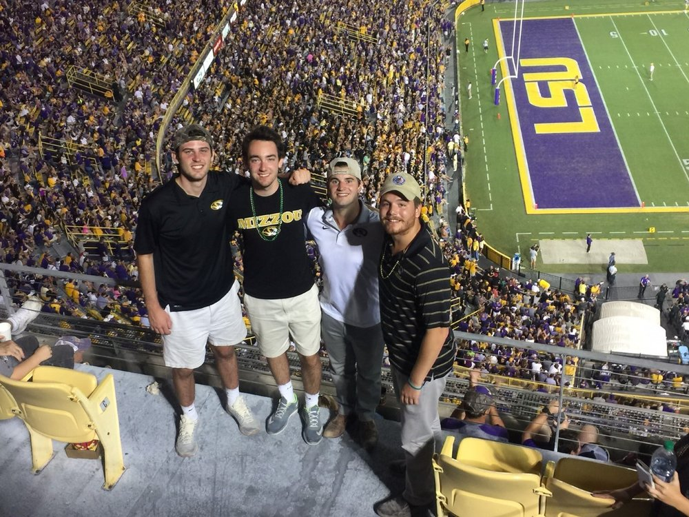 (From Left) Pohl with friends Zach Reinarman, Adam Litteken and Jack Whiteman at the recent LSU vs. Mizzou football game in Death Valley.
