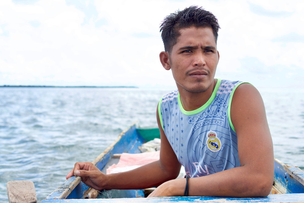 Young father and fisherman, Ahdan, doubts there's a future for his children in a community dependent on increasingly scarce marine resources.