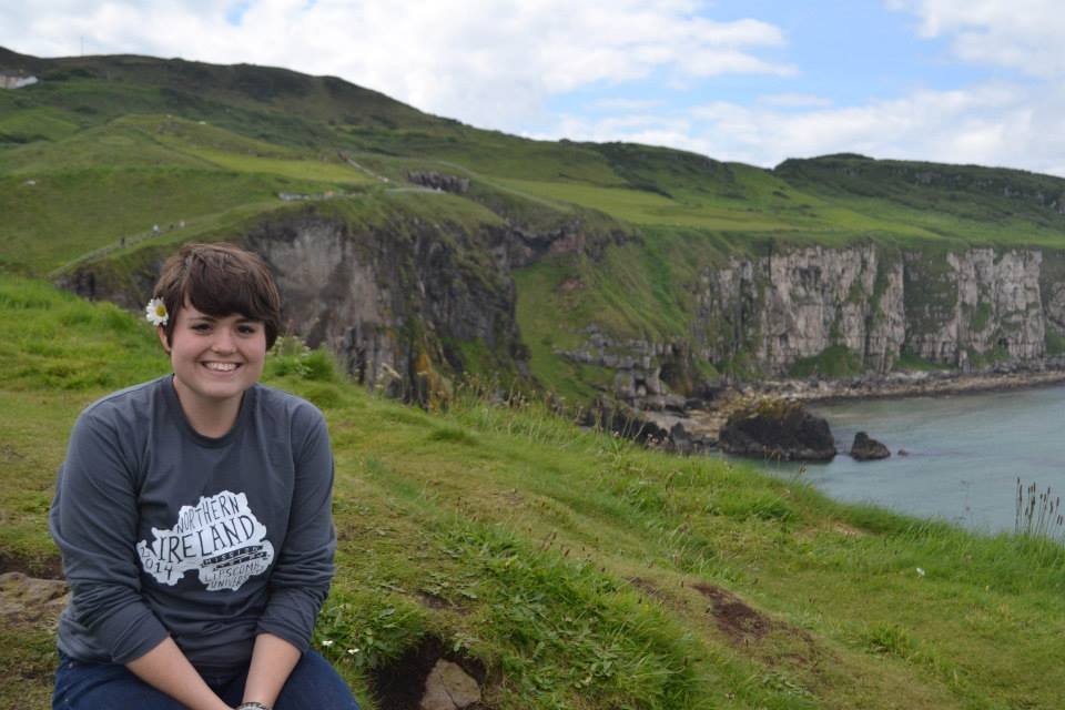 My sister modeling the team tee at Carrick-a-rick, on the coast of Northern Ireland.