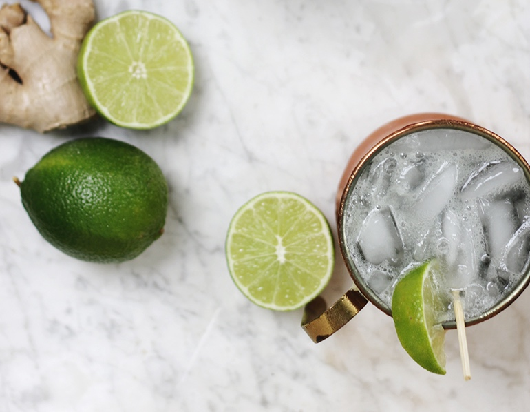 Moscow Mule Mocktail - INGREDIENTS FOR 1 SERVING1/2 cup Ginger Beer (non-alcoholic)3 tablespoons Fresh Lime Juice3 tablespoons Club SodaLime Wedge and Ming Sprigs, for garnishDIRECTIONSMix ingredients in a copper mug 3/4 full of crushed ice.Stir together.Garnish with Lime Wedge and Mint.