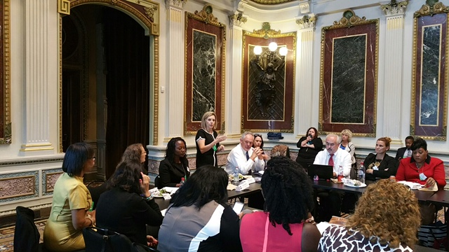 Kathy Szafran leads a break-out panel discussion on trauma-informed, gender-responsive care at the White House.