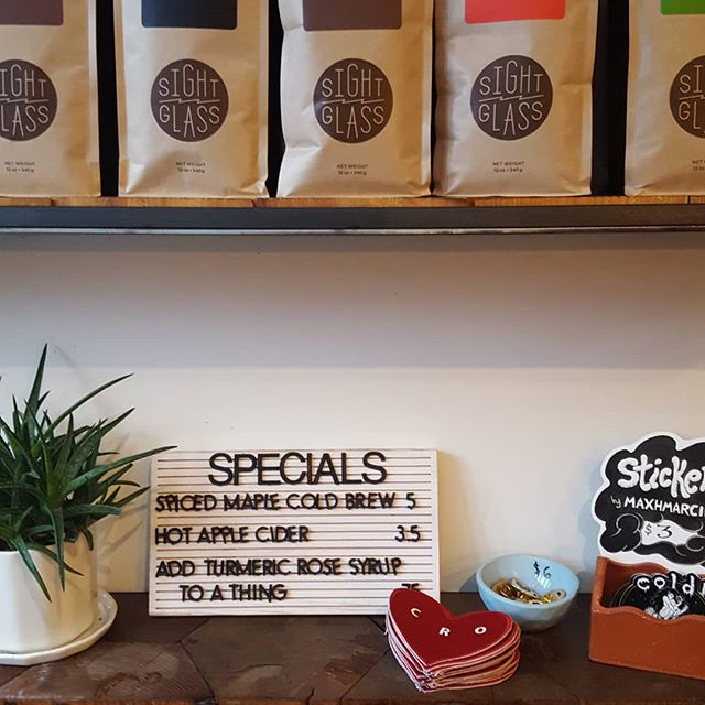 Here till noon, come try one of our seasonal specials and grab a gift for the coffee (or tea) lover in your life.