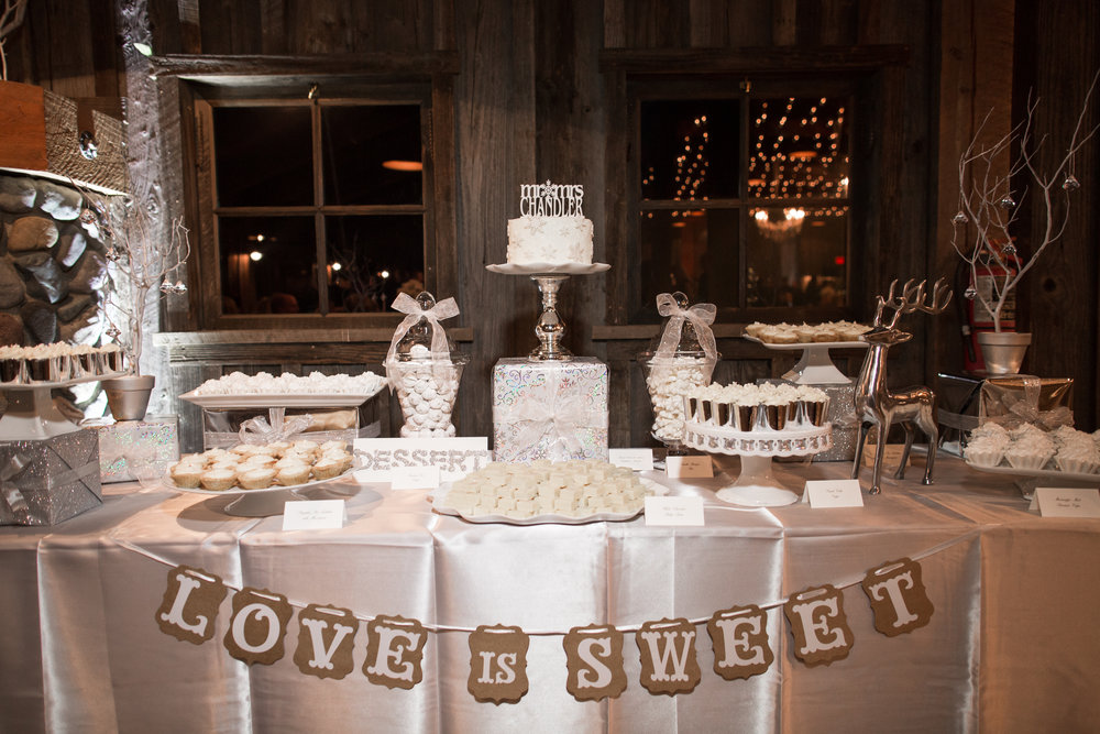 All White dessert table for Angela + George's December Wedding. Photo by Corliss Photography.