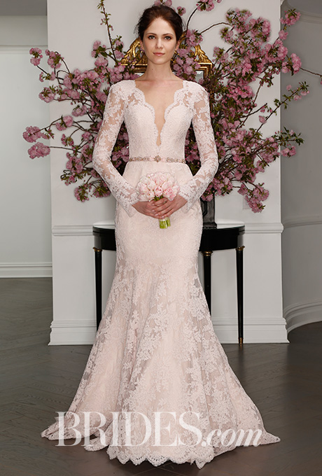 Blush La Vie En Rose lace gown with deep V-illusion neckline and illusion long sleeves,  Legends by Romona Keveza