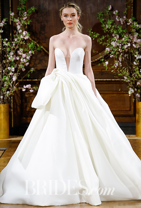 """Brett"" strapless deep V-neck silk gazar ball gown with dramatically draped and bowed skirt,  Isabelle Armstrong"