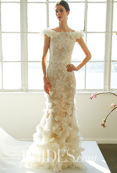 Fit-and-flare corded lace wedding gown with 3D silk organza rose tulle overlay and 3D roses on shoulder,  Marchesa