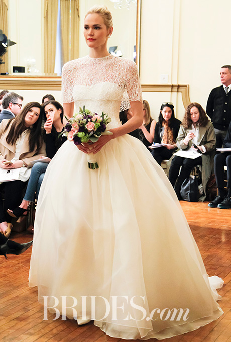 """Corinne"" ball gown in silk organza with bodice and cape of lace by  Peter Langner"