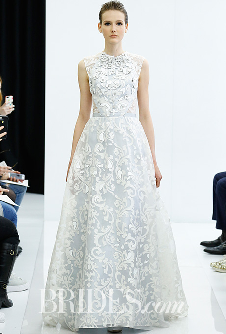 Threadwork lace wedding dress with hand-cut leather detail and plexi floral embroidered bodice,  Angel Sanchez