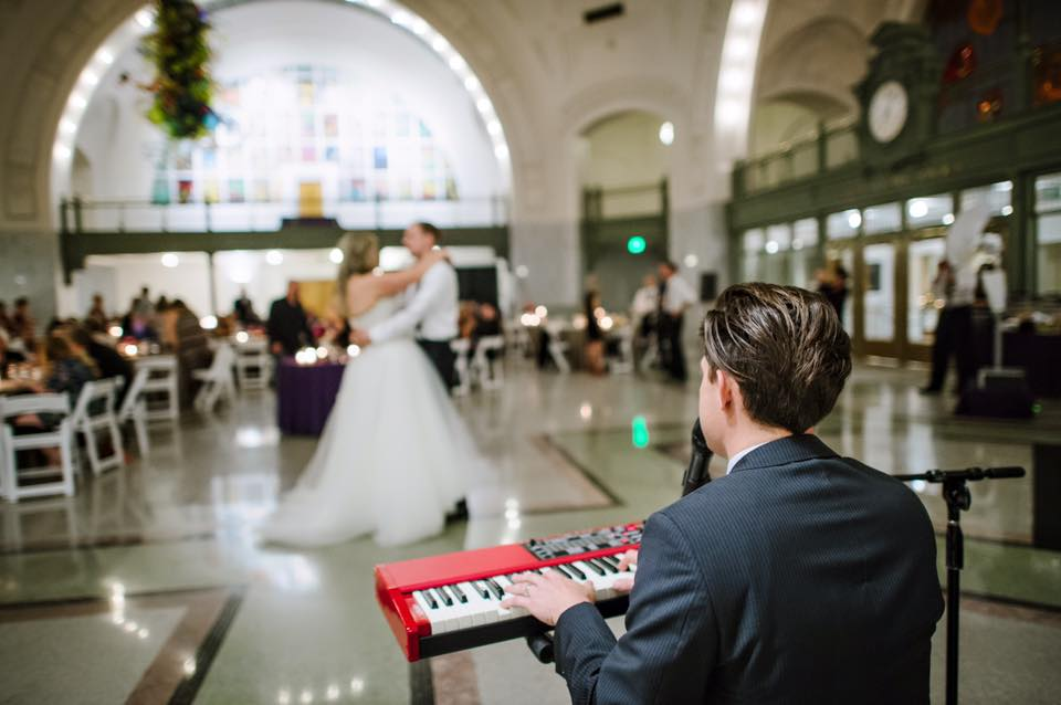 DJ Brandon Ghorley can do it all from DJ/MC to even singing this couple's first dance song. Photo by Jane G. Photography
