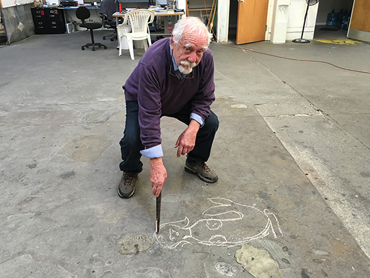 Wayne sketching the concept for the new Mermaid piece at Effetto Glassworks.