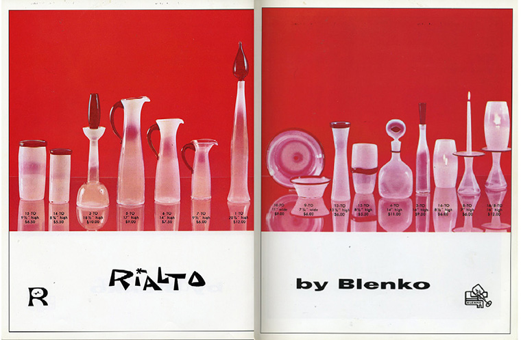 "The spread from the 1960 Blenko catalog that features the Rialto line. Note the ""here's looking at you"" bottle, fourth from the right, with the red eye on the stopper."