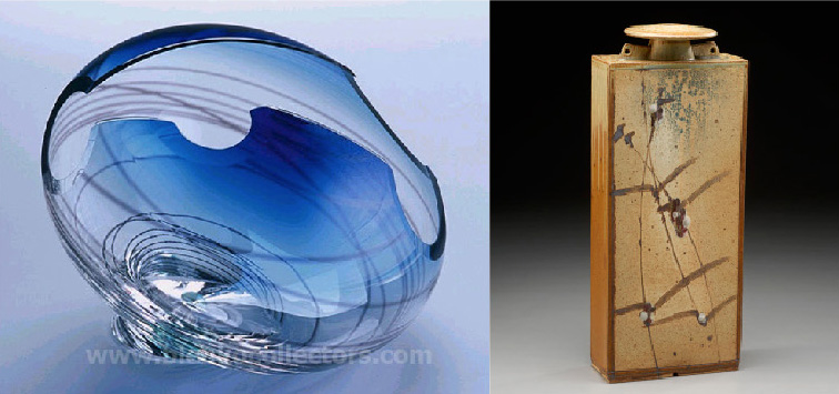 Sculptural hand-blown glass and ceramic pieces by John Nickerson