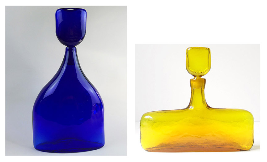 Bluesette in cobalt from current Jazz in Glass and vintage Blenko jonquil decanter