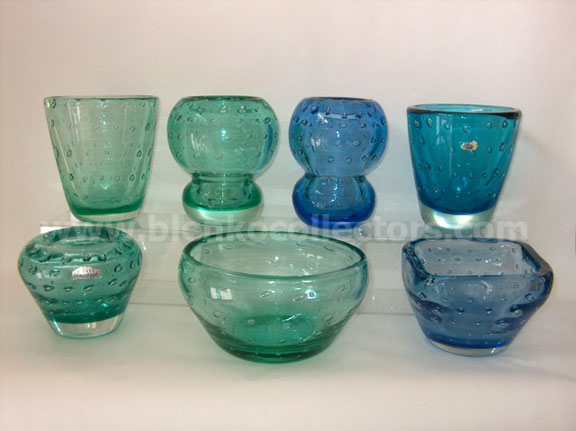 "Early Blenko tableware with evenly spaced ""bubble"" texture. Photo courtesy of blenkocollectors.com."