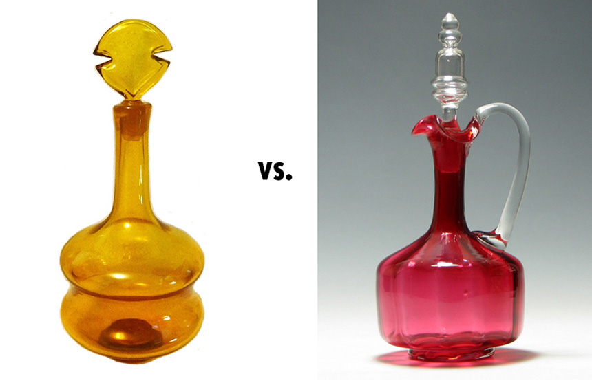 On the left: The Napolean Decanter, designed by me for Blenko in 1957. On the right: Victorian Hand Blown Cranberry Decanter. Photo: ParadeAntiques.co.uk