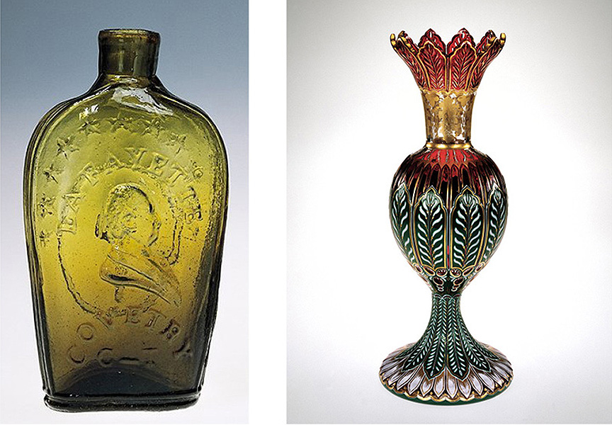 On the left: A common flask in olive amber, mold blown at Stebbins and Stebbins in Connecticut, circa 1824. Collection of the Corning Museum of Glass. On the right: An elitist cut and gilded vase, blown from four layers of glass, made by the New England Glass Company, probably for display at the 1853 New York world's fair. Collection of the Corning Museum of Glass.