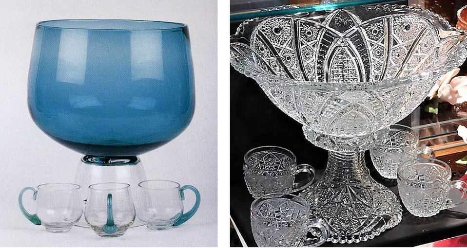 On the left: My punch bowl in copper bue, designed in 1957. On the right: Cut glass punch bowl, made by Indiana Glass in the 1890s.