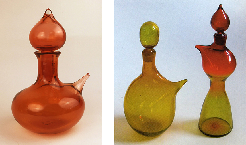 "The ""Night in Tunisia"" genie decanter from my current Jazz in Glass Series (on the left) reprises the non-functioning, pulled-out spouts of the 1959 decanters. Photo on the right by Gordon Harrell."