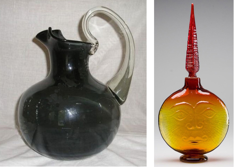 Left: Charcoal pitcher with Rococo handle that was introduced in 1954. Right: Sun Face decanter.