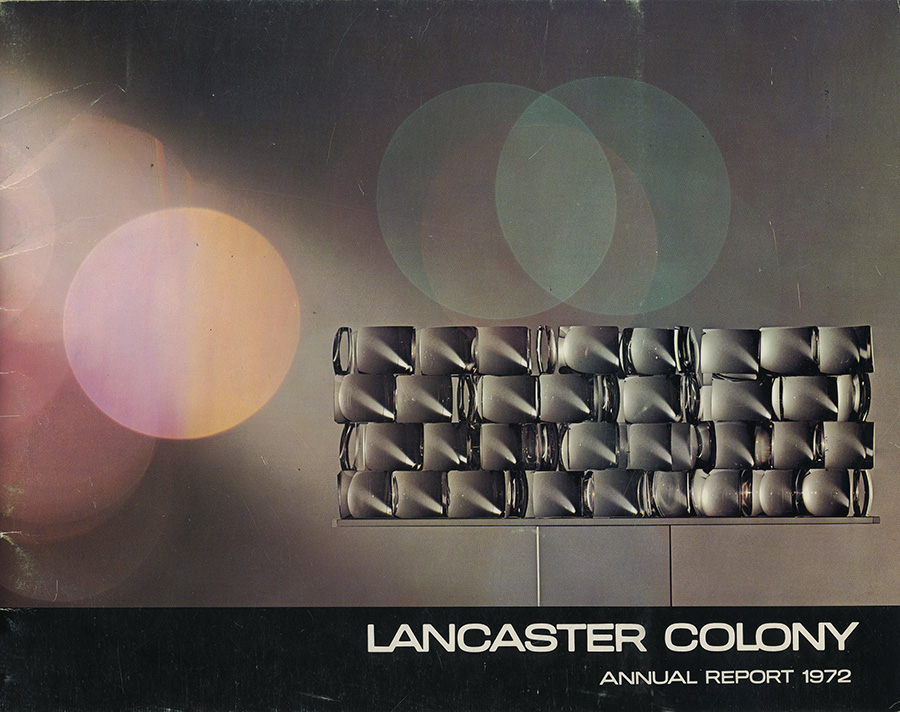 Lancaster Colony Annual Report of 1972, showing my Lens Art sculpture on the cover.