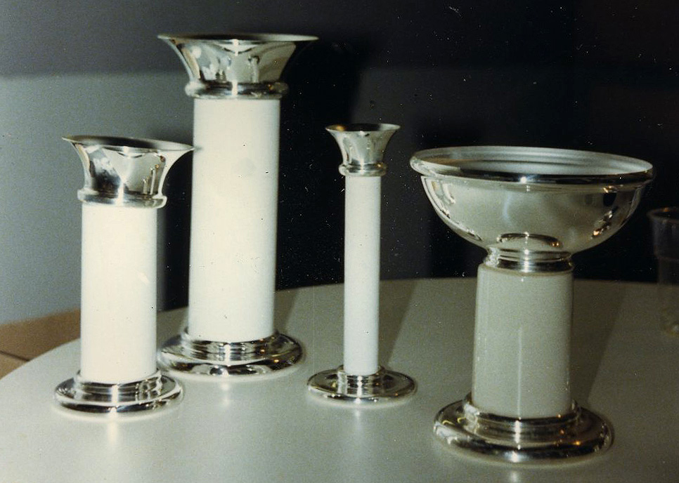 A line of silver and ceramic candlesticks and bowls that I designed for Zilverstad Schoonhoven