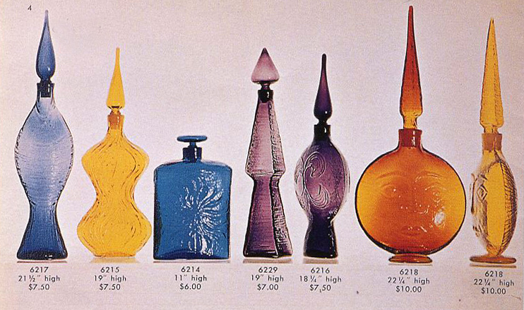The sun face decanter first appeared in Blenko's 1962 catalog. Note the textures on all of pieces pictured, which were all carved in styrofoam.