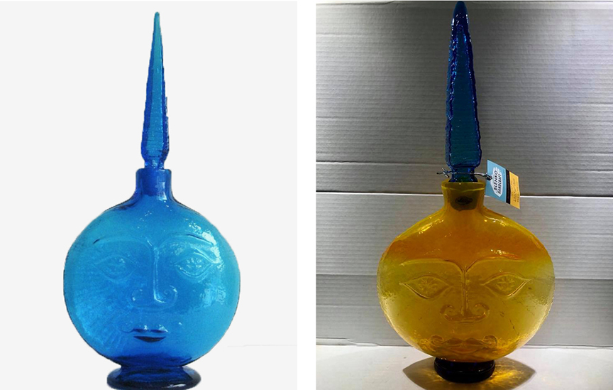 "On the left, the blue moon face decanter, made from my sun face decanter mold. On the right, the ""pawpaw"" sun face decanter, made in 2018. (Photo from the Ebay website.)"
