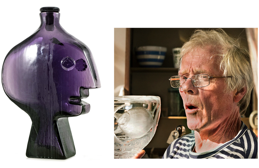 On the left, the purple Face Decanter that Andy, right, found at a London auction house.