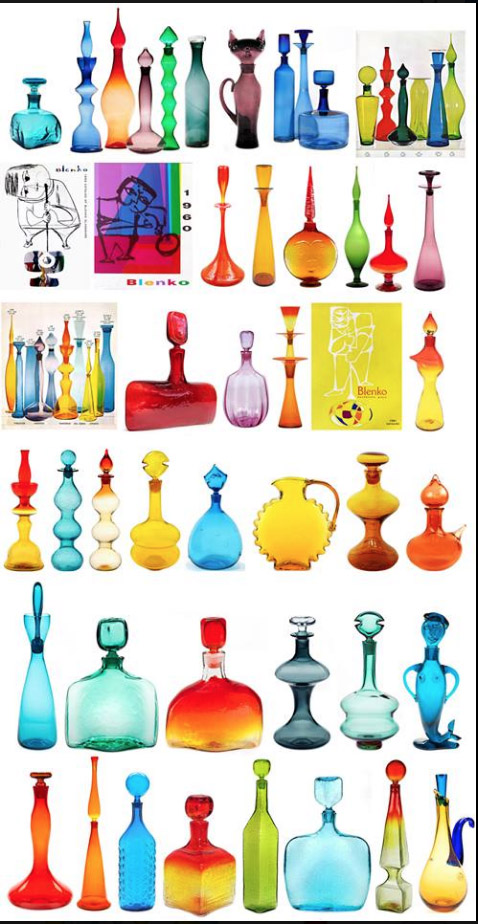 Andy gathered all of my decanter designs that he was able to find and emailed them to me in a pdf, along with his draft captions. He asked me to confirm his facts and fill in any details for every one of them—no small task. (A few of these were actually designed by Joel Meyers: the tall tangerine one third from the left in the top row, and all three green ones on the catalog page at the end of the first row.)