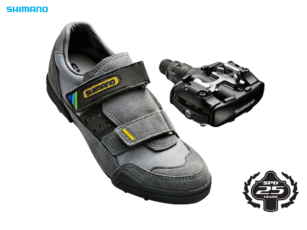 cue the confetti, the Shimano M737 was the first mountain specific pedal, and it came with a partner shoe (the M100) to complete the system.