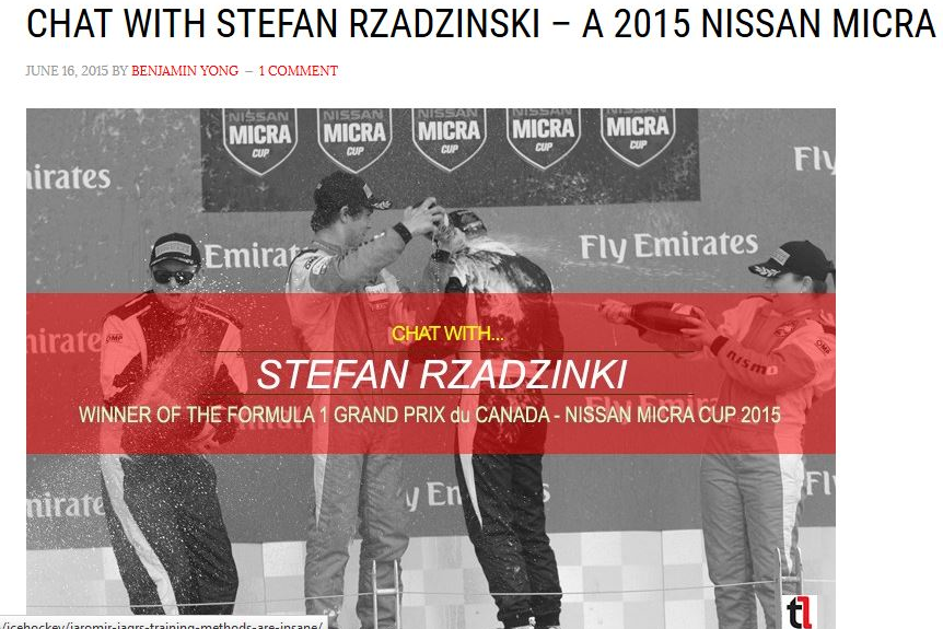 Chat with Stefan Rzadzinski A 2015 Micra Cup Winner - June 15, 2015
