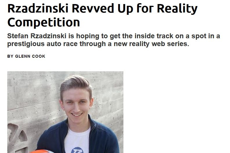 Rzadzinski Revved Up for Reality Competition - March 3, 2015