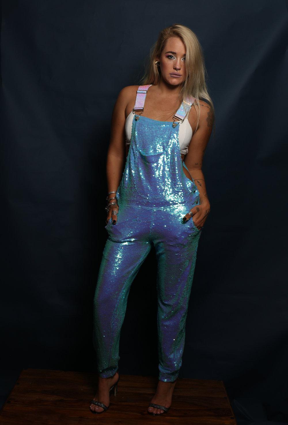 Blue Mermaid Sequin Long Overalls