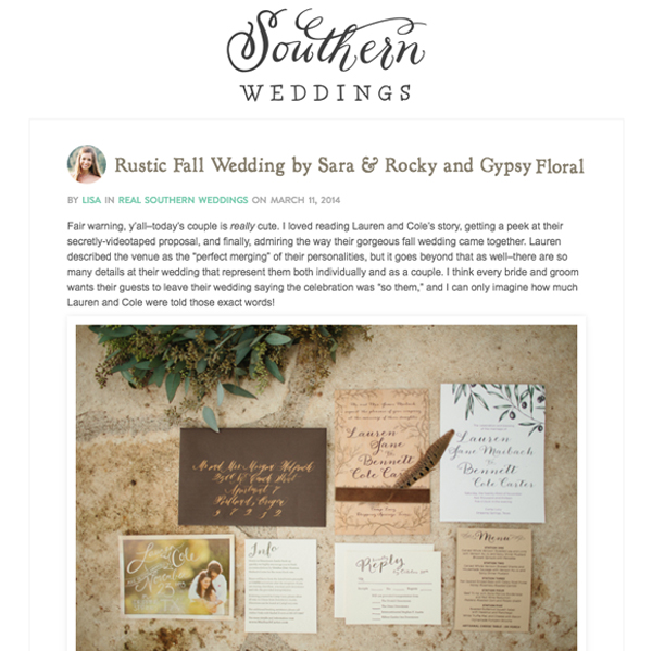 Southern Weddings – Rustic Fall Wedding - Gypsy Floral Austin Texas