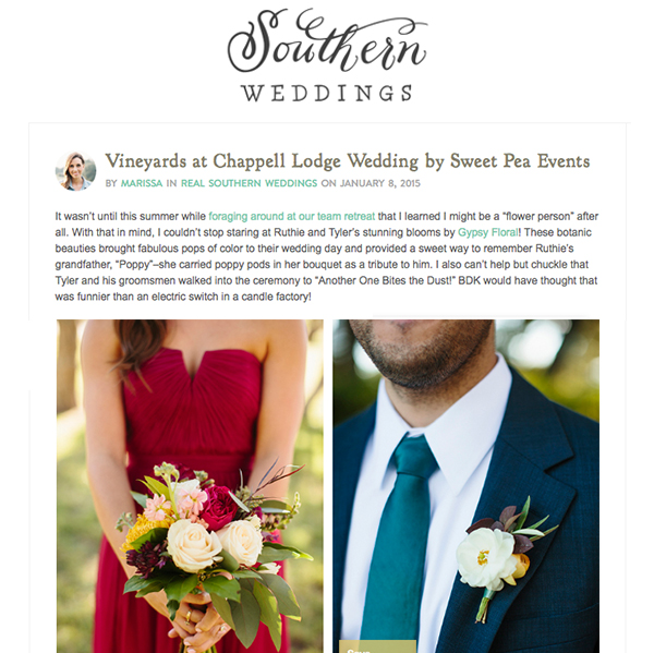 Southern Weddings – Vineyards at Chappell Lodge Wedding -  Gypsy Floral Austin Texas