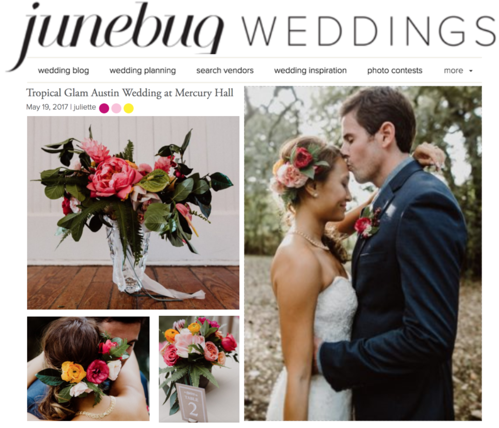 Junebug Weddings | Tropical Glam Austin Wedding at Mercury Hall | Gypsy Floral & Events