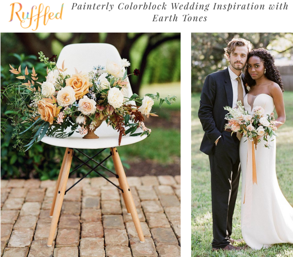 Ruffled Blog | Painterly Colorblock Wedding Inspiration with Earth Tones | Gypsy Floral & Events