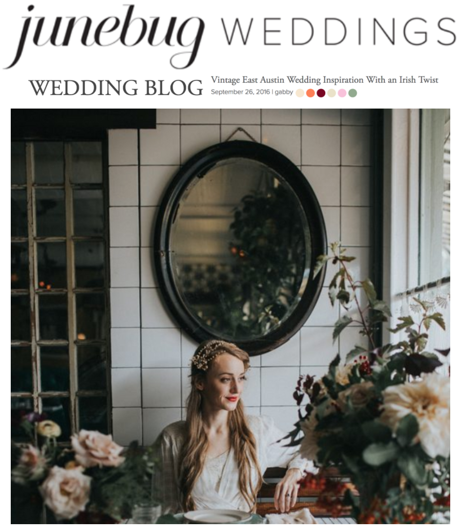 Junebug Weddings | Vintage East Austin Wedding Inspiration With an Irish Twist | Gypsy Floral and Events