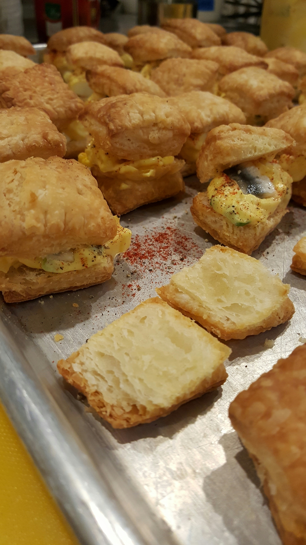 Egg salad on Puff pastry with white anchovies.